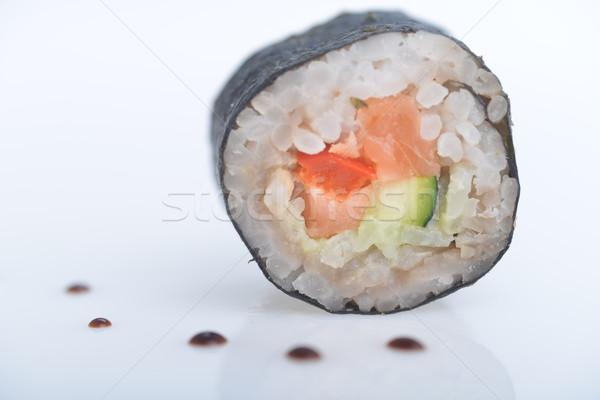 Frescos sushi caída salsa mesa Foto stock © taden