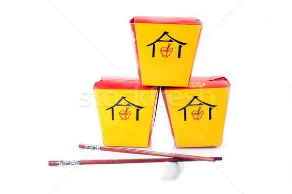 asian fast food boxes on white Stock photo © taden