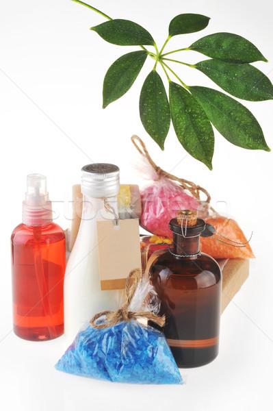 Salt , oil for massage and  milk for  body  Stock photo © taden