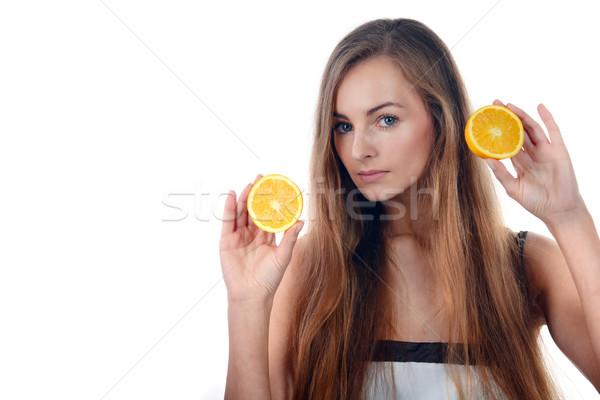 Hermosa jóvenes rubio mujer naranja Foto stock © taden