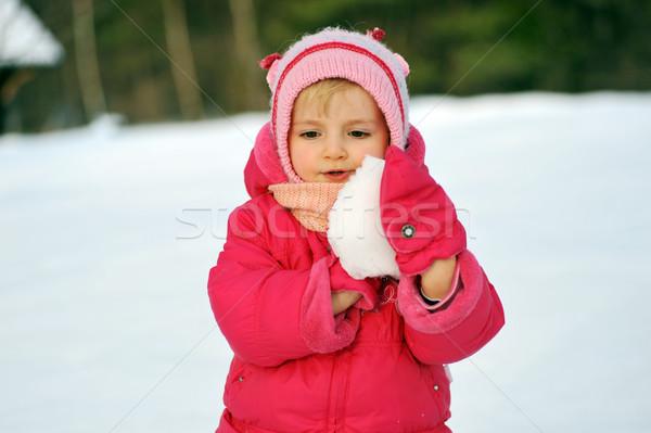 Ragazza neve ragazza felice inverno baby bambini Foto d'archivio © taden