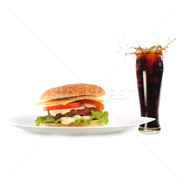 hamburger with cutlet and drink Stock photo © taden