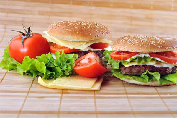 Hamburger warzyw bambusa serwetka tabeli grupy Zdjęcia stock © taden