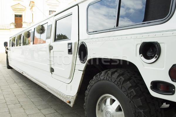 Esküvő limuzin vár friss házas Stock fotó © taden