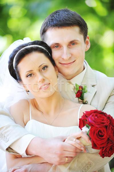 Novio novia vestido blanco verde árboles flor Foto stock © taden