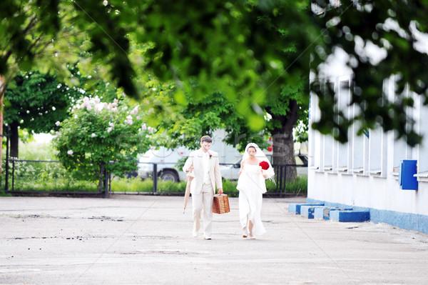 Foto stock: Luna · de · miel · Pareja · boda · viaje · negocios · cielo