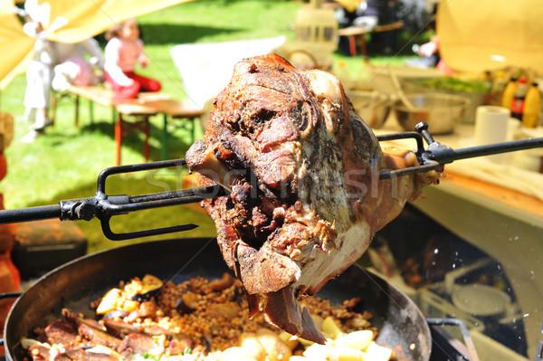 Hús sült nagy darab nyárs étel Stock fotó © taden