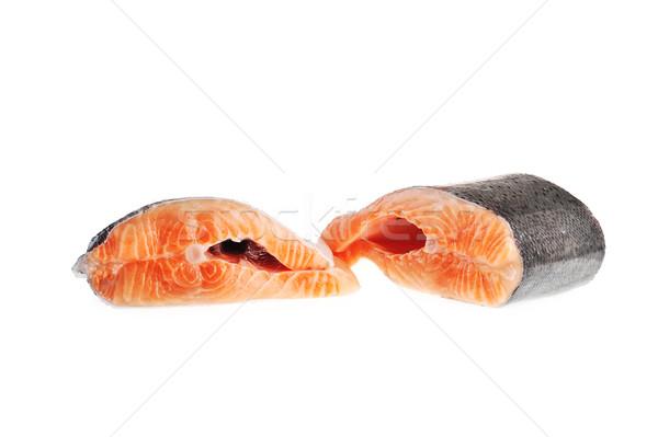 Deux pièces saumon isolé poissons rouge Photo stock © taden