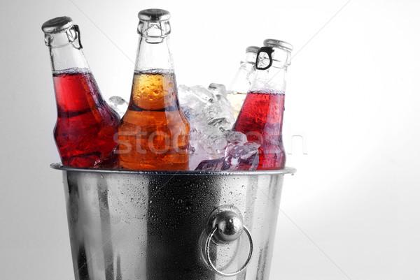 Bier flessen drie verschillend emmer ijs Stockfoto © taden