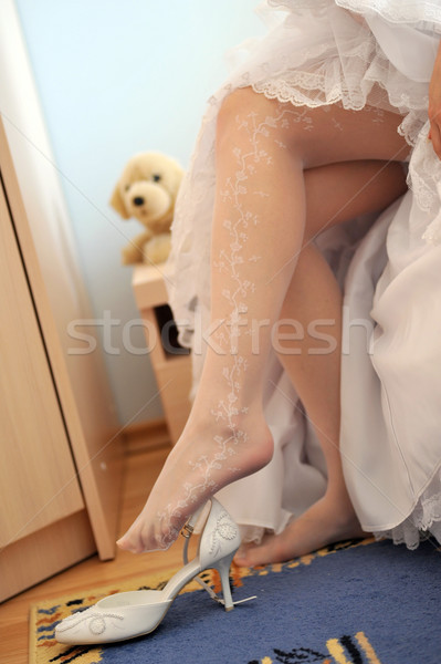 Novia zapato mujeres pelo belleza vestido Foto stock © taden