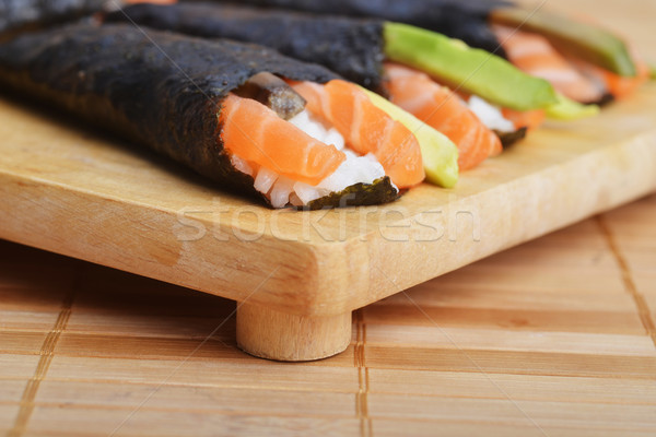 Friss szusi tekercsek ízletes kúp fából készült Stock fotó © taden
