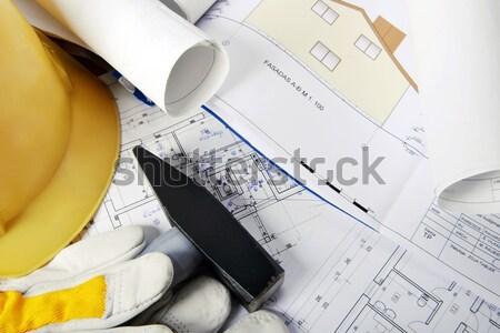 Martello disegni giallo guanti carta Foto d'archivio © taden