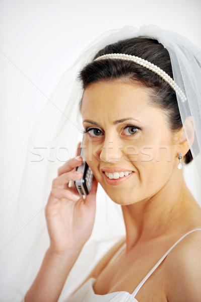 Portre güzel gelin şık telefon stüdyo Stok fotoğraf © taden