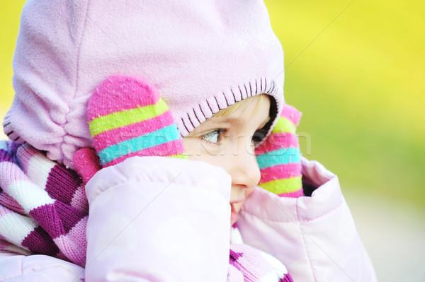 Güzel kız park sonbahar gün bebek Stok fotoğraf © taden