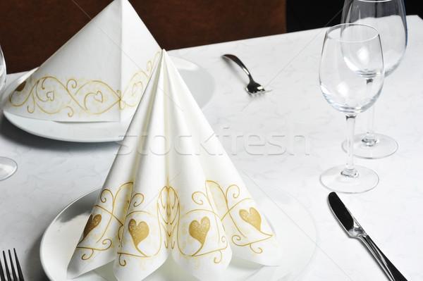 Conjunto refeição moderno restaurante vidro grupo Foto stock © taden