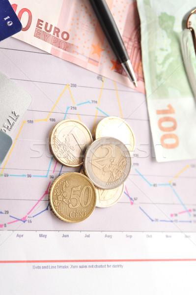 Geld financiële grafieken ander voorraad business Stockfoto © taden