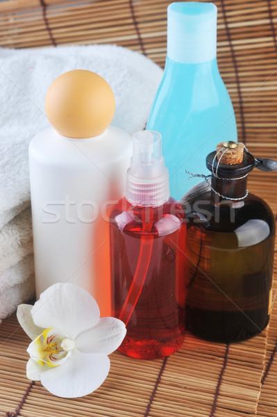 косметики тело соломы салфетку орхидеи полотенце Сток-фото © taden