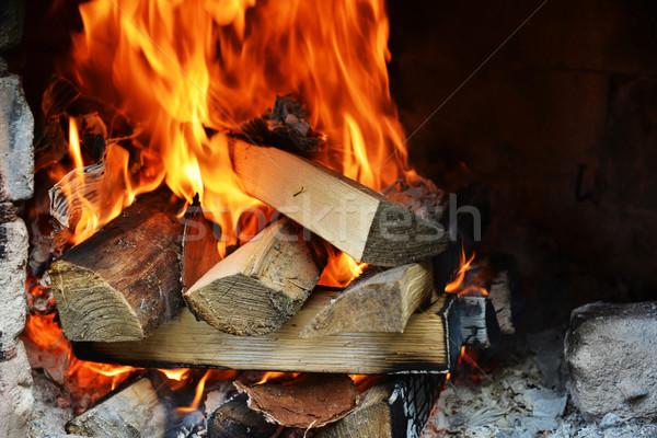 Brand haard hout abstract natuur Stockfoto © taden