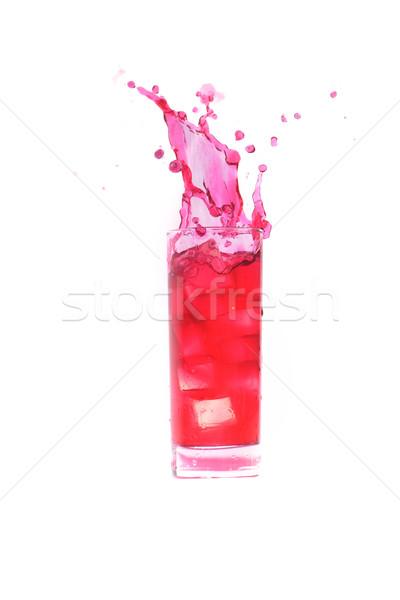Stock fotó: Koktél · csobbanás · piros · üveg · kocka · jég