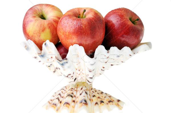 Stockfoto: Rood · appels · rijp · smakelijk · witte · vaas