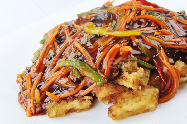 Pollo rojo salsa chino cocina profundo Foto stock © taden