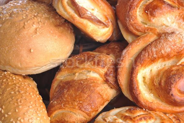 Friss sült kenyér közelkép étel kávé Stock fotó © taden