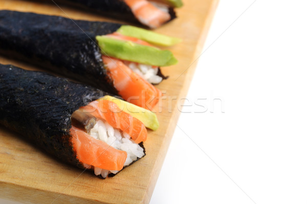 Frischen Sushi lecker Kegel Holz Platte Stock foto © taden