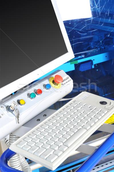 Foto stock: Panel · de · control · moderna · máquina · alto · precisión · pantalla