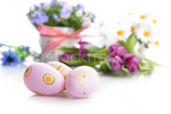 flowers and easter eggs Stock photo © taden