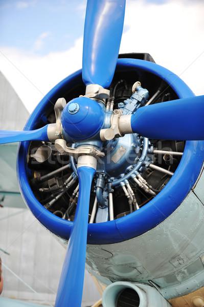 Vliegtuig model Blauw vliegtuig Stockfoto © taden