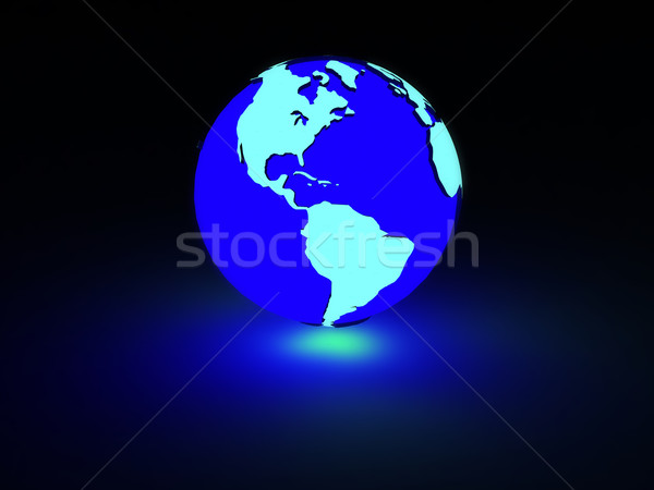 Aarde neon gloed gerenderd business internet Stockfoto © taden