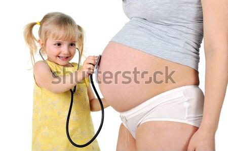 少女 妊娠 母親 女の子 赤ちゃん 子宮 ストックフォト © taden