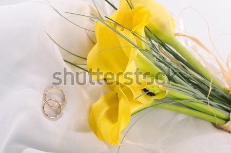 Bouquet from five yellow calla lilies Stock photo © taden