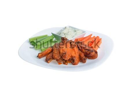 куриные крыльями сельдерей морковь голубой сыр соус Сток-фото © taden
