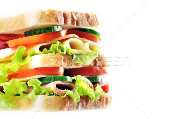 Smaczny kanapkę świeże tabeli grupy Zdjęcia stock © taden