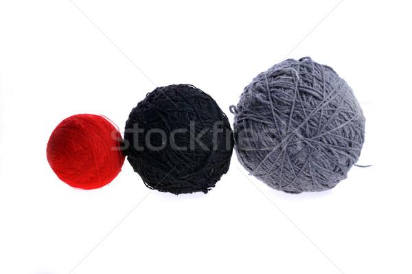 three yarn balls on white Stock photo © taden