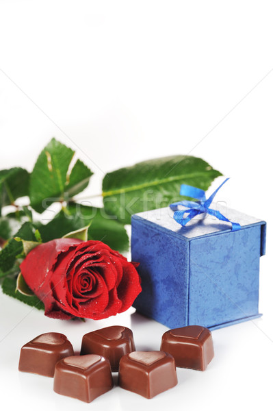 rose and  gifts in box Stock photo © taden