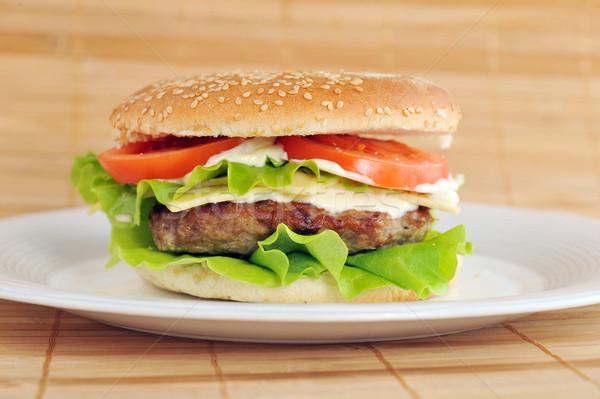 Hamburger zöldségek edény asztal csoport búza Stock fotó © taden
