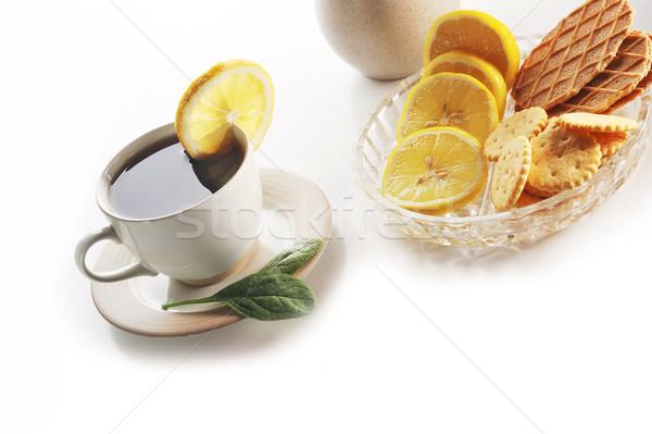 Taza té limón azúcar casa Foto stock © taden