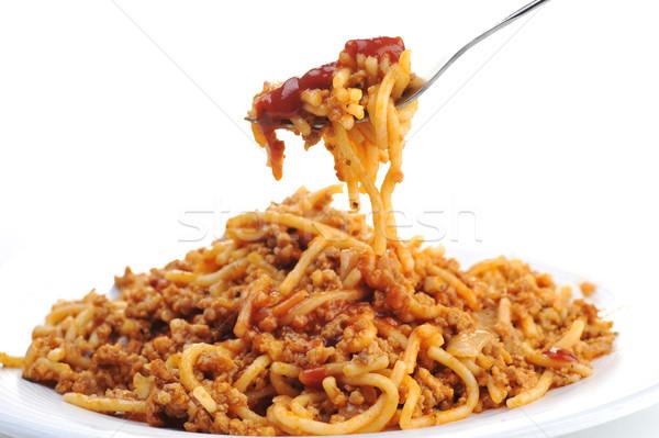 Macarrão carne tomates projeto cozinha Foto stock © taden