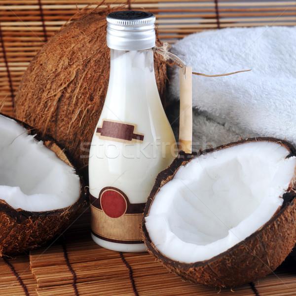 Kókusz masszázsolaj test szalmaszál szalvéta gyógyszer Stock fotó © taden