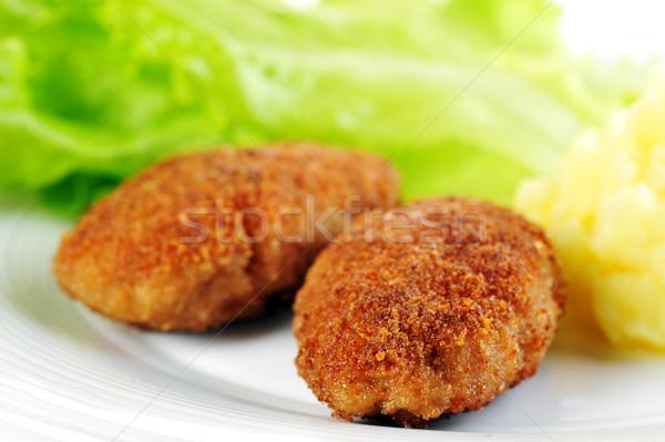 Cerdo papa lechuga restaurante beber Foto stock © taden