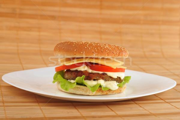 Hamburguesa hortalizas plato mesa grupo trigo Foto stock © taden
