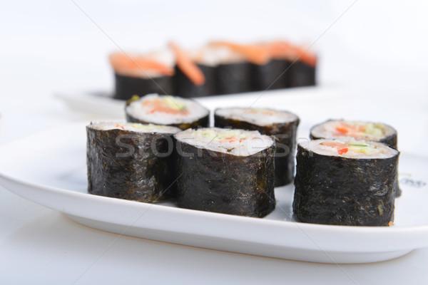 Sushi biały tablicy żywności Zdjęcia stock © taden