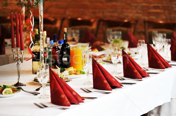 Tabela comida beber recepção de casamento lugar pronto Foto stock © taden