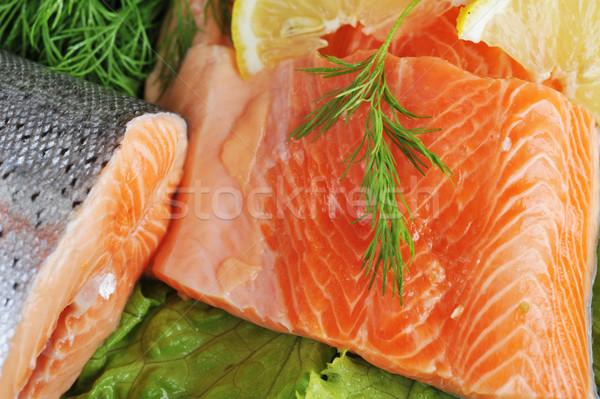 Piezas salmón peces verde rojo limón Foto stock © taden