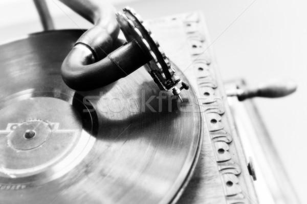 Vintage grammofoon spelen oude lied Stockfoto © taden