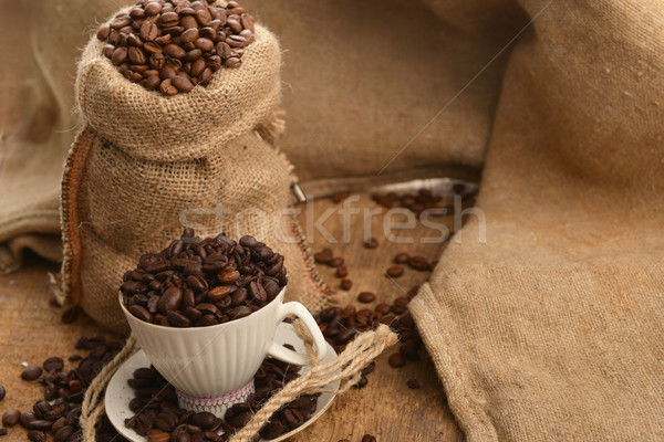 Grãos de café copo saco tabela Foto stock © taden