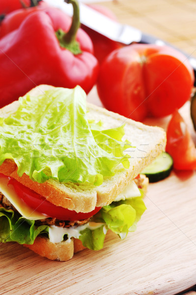 Stock photo: sandwich with  cutlet