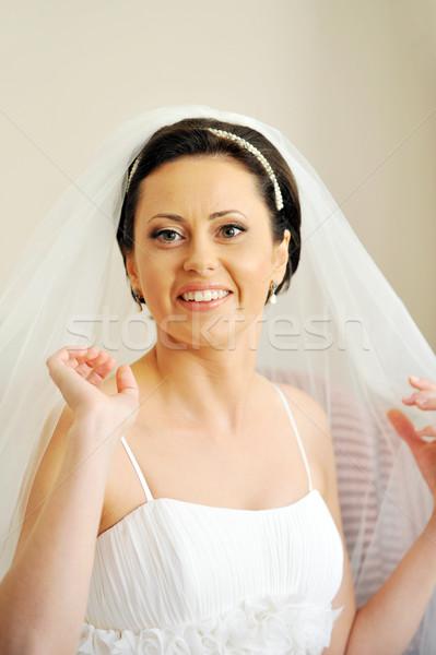 красивой невеста белое платье комнату свадьба Сток-фото © taden